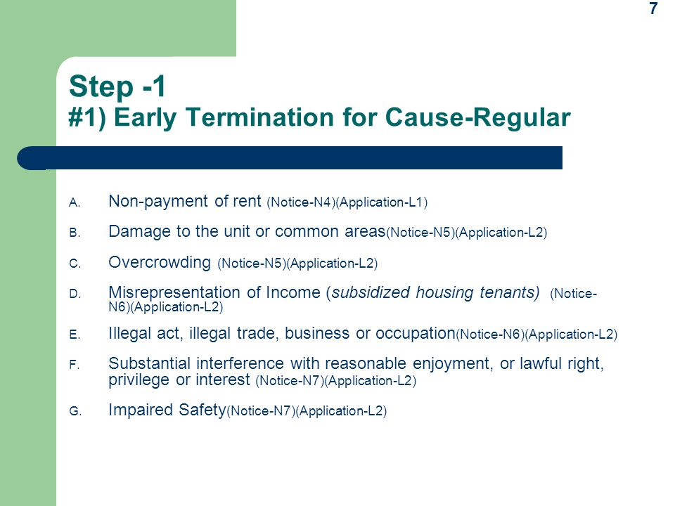 Step -1 #1) Early Termination for Cause-Regular