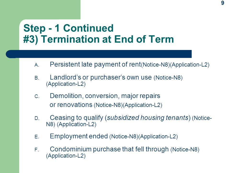 Eviction process under the residential tenancies act ppt video 9 step thecheapjerseys Image collections