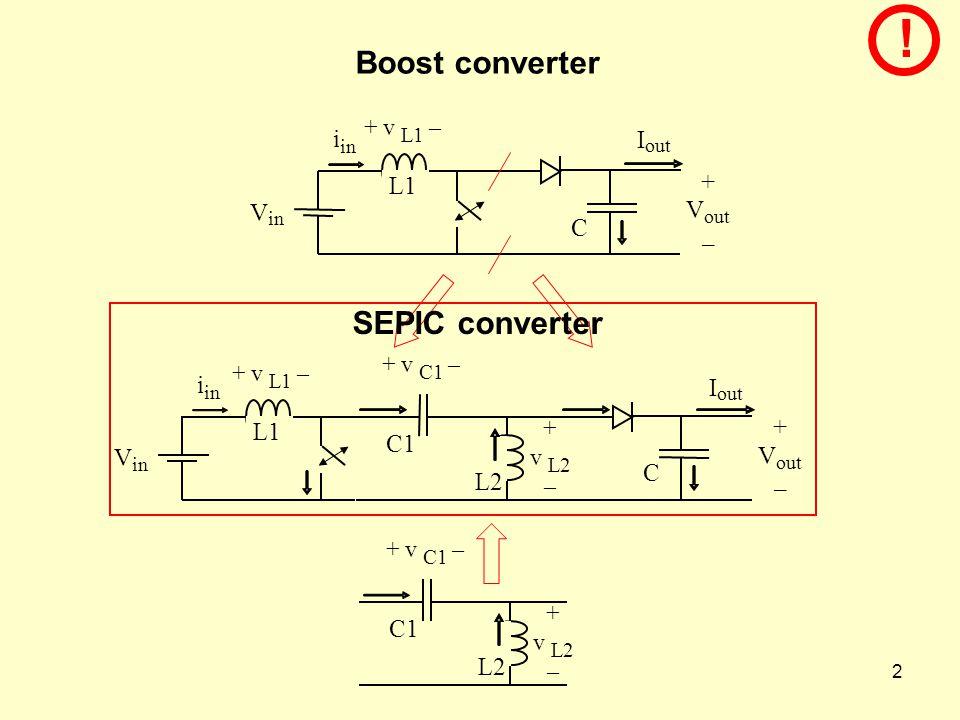 ! Boost converter SEPIC converter i I + L1 V V C – i I + L1 C1 V V C