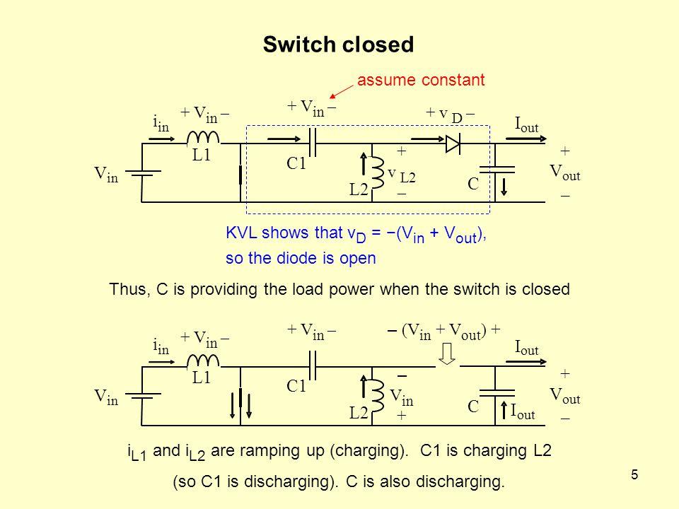 Switch closed i I + L1 C1 V V C L2 – i I + L1 C1 V V C I L2 –