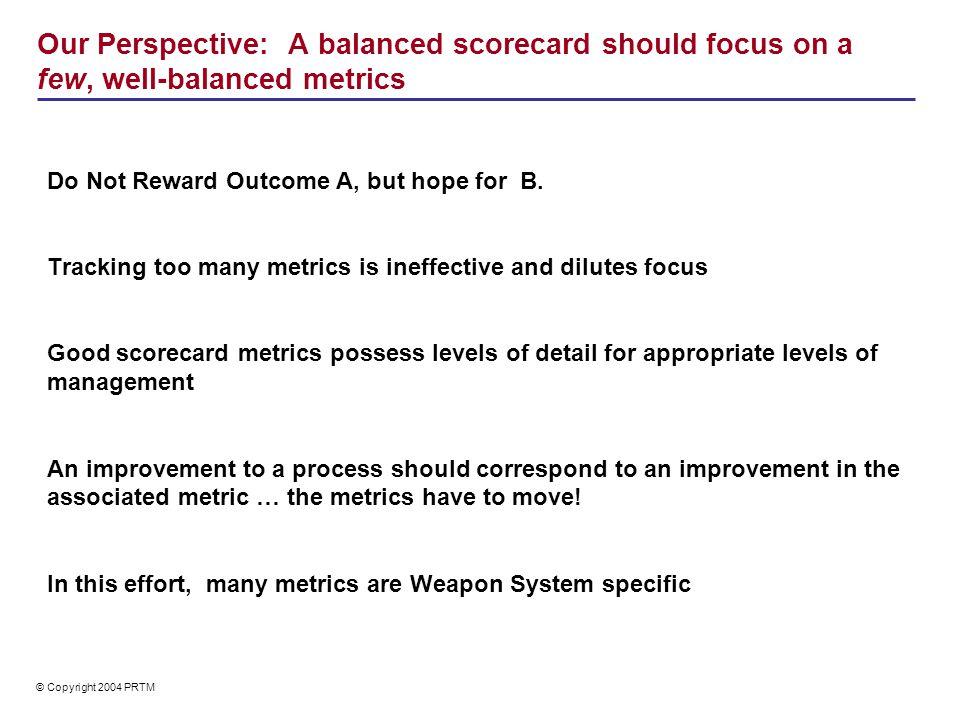 Balanced Scorecard Metrics map to ILS process elements