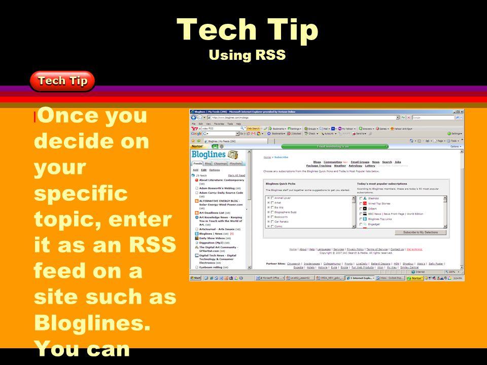 Tech Tip Using RSS