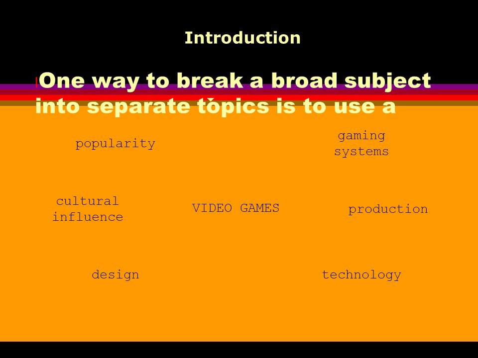 Introduction One way to break a broad subject into separate topics is to use a mind map. popularity.