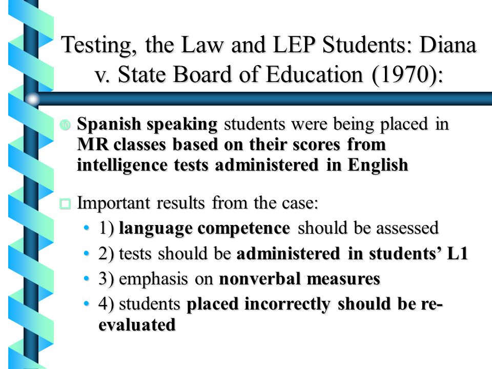 Testing, the Law and LEP Students: Diana v