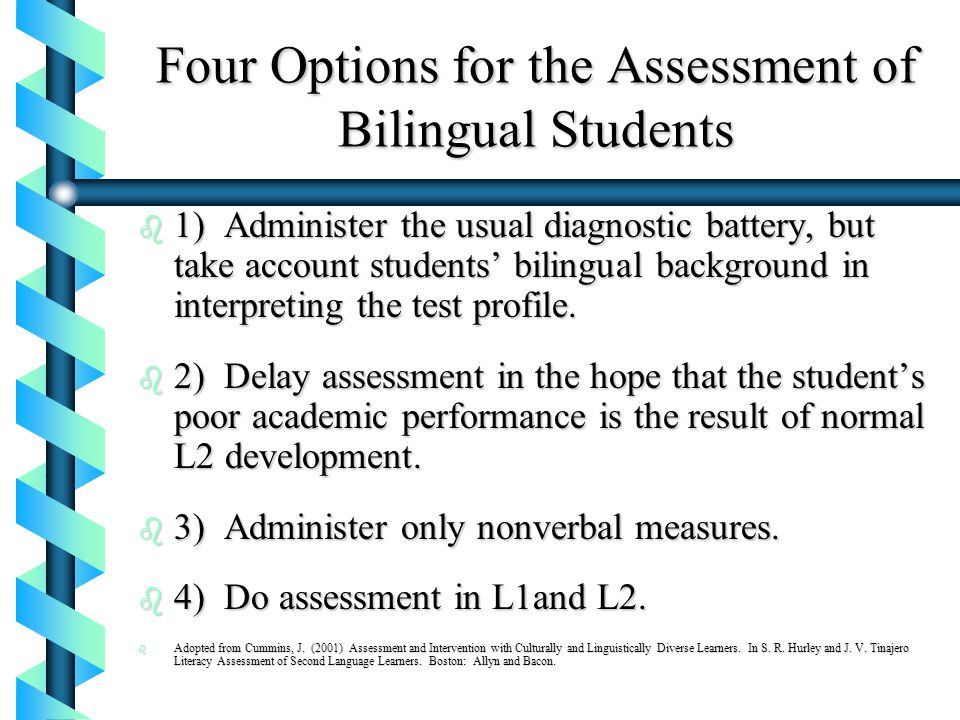 Four Options for the Assessment of Bilingual Students