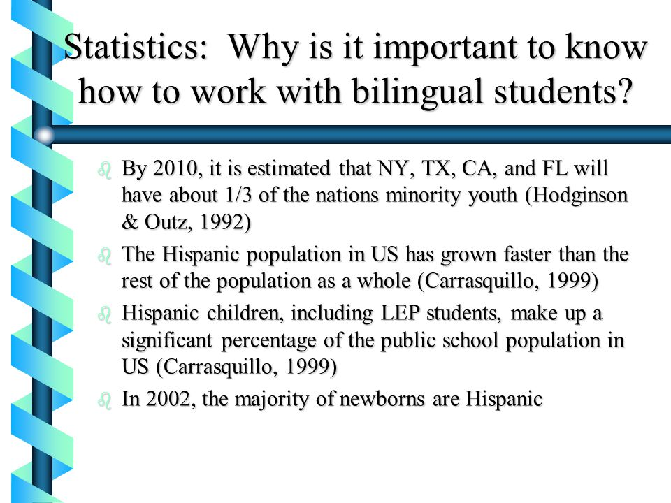 Statistics: Why is it important to know how to work with bilingual students