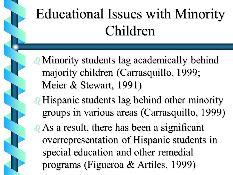 minority students in special education programs essay Pew research center surveys in 2003 and again in 2014 found that more than 60 percent of americans support affirmative action programs designed to increase the number of minority students on campuses but underneath those numbers is a racial and partisan divide that underscores our challenge.