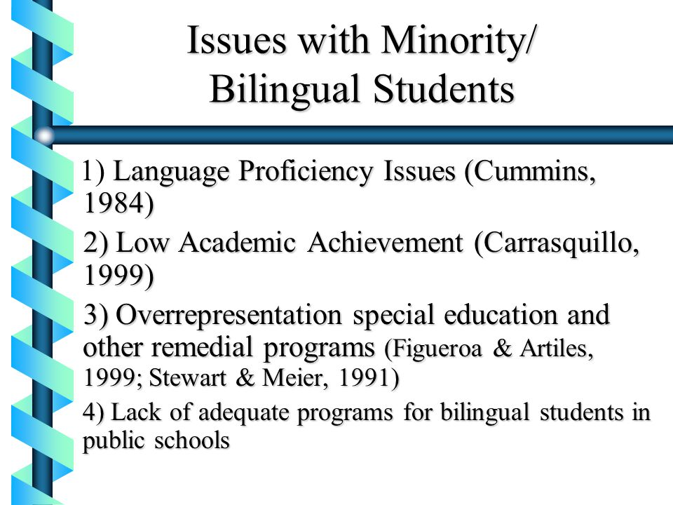 Issues with Minority/ Bilingual Students