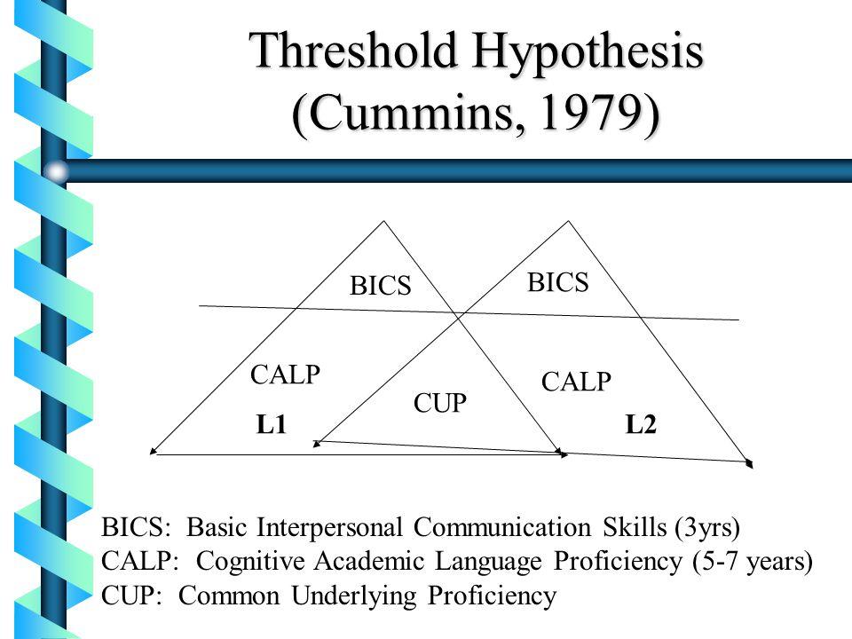 Threshold Hypothesis (Cummins, 1979)