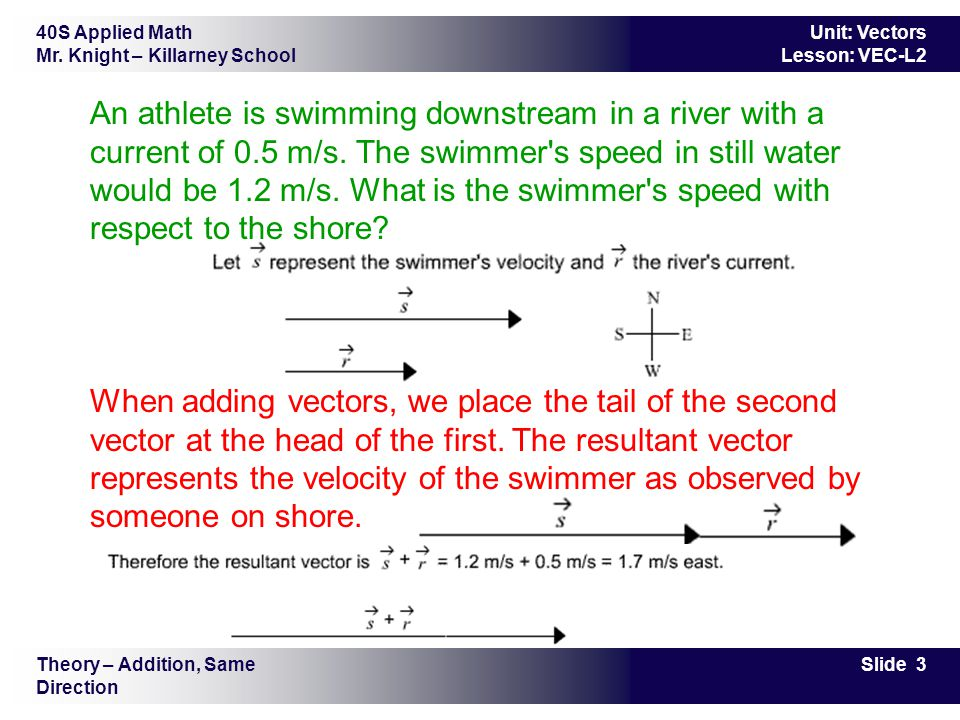 An athlete is swimming downstream in a river with a current of 0.5 m/s. The swimmer s speed in still water would be 1.2 m/s. What is the swimmer s speed with respect to the shore