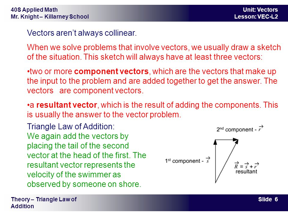 Vectors aren't always collinear.