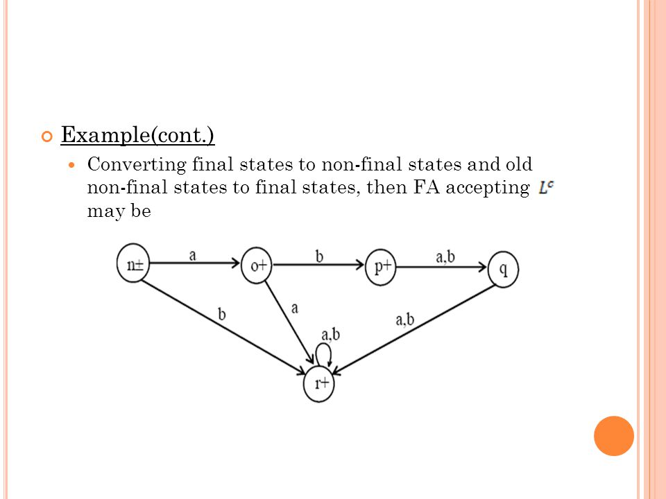 Example(cont.) Converting final states to non-final states and old non-final states to final states, then FA accepting may be.