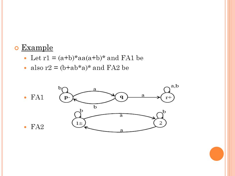 Example Let r1 = (a+b)*aa(a+b)* and FA1 be