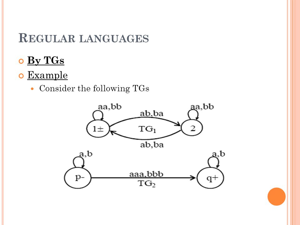 Regular languages By TGs Example Consider the following TGs
