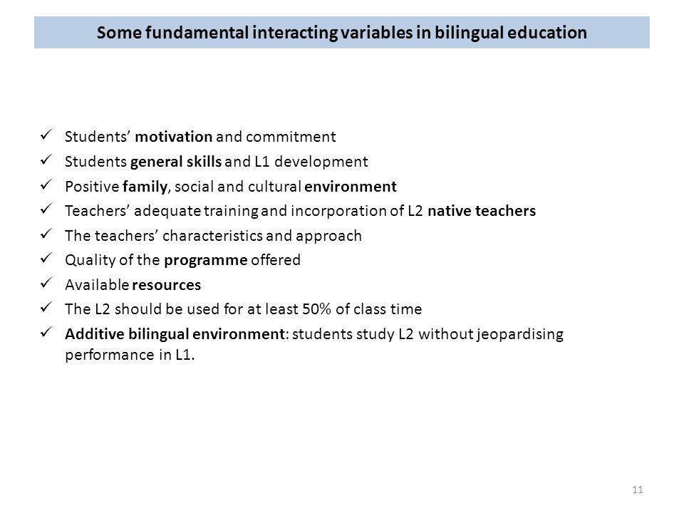 Some fundamental interacting variables in bilingual education