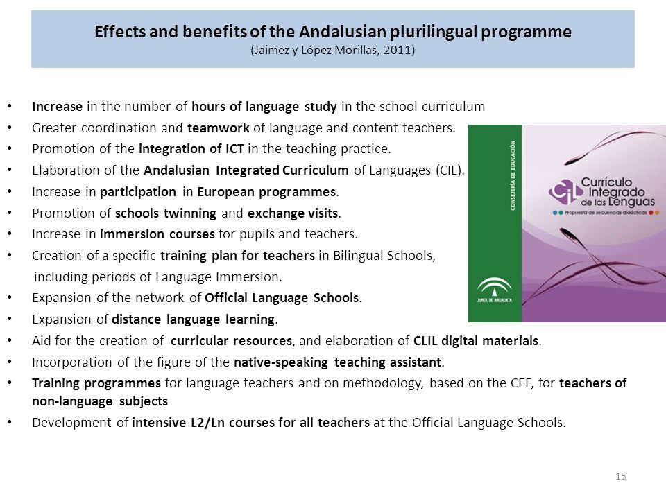 Effects and benefits of the Andalusian plurilingual programme (Jaimez y López Morillas, 2011)