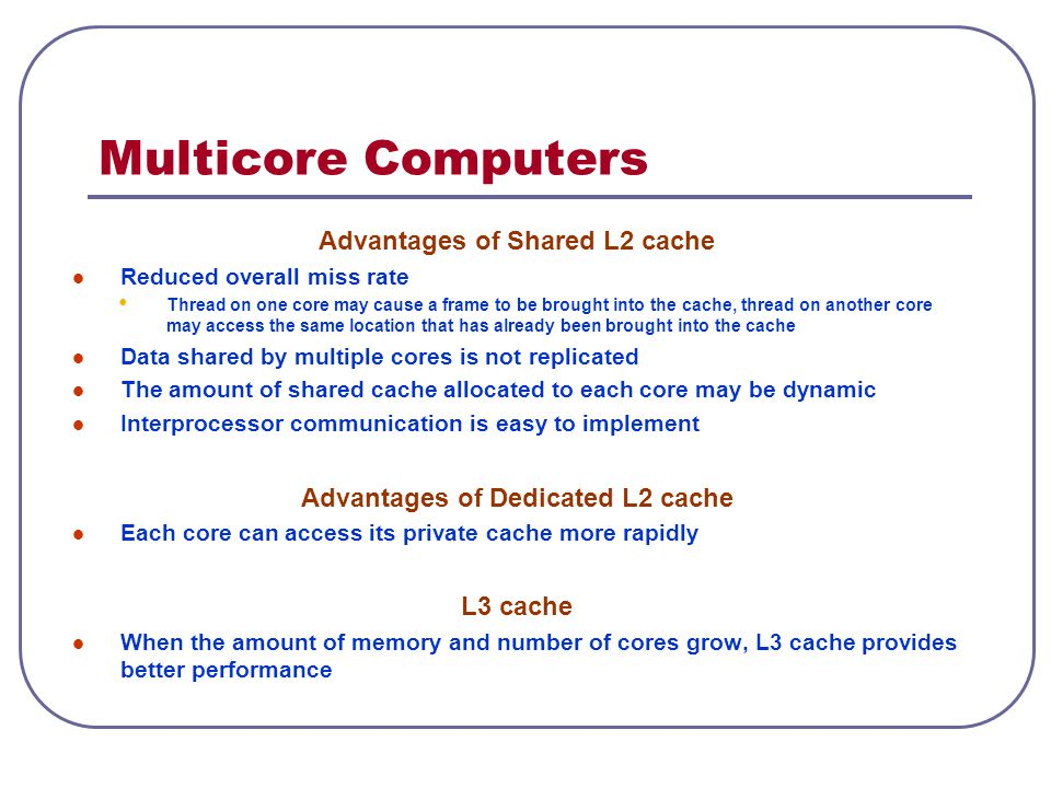 Advantages of Shared L2 cache Advantages of Dedicated L2 cache