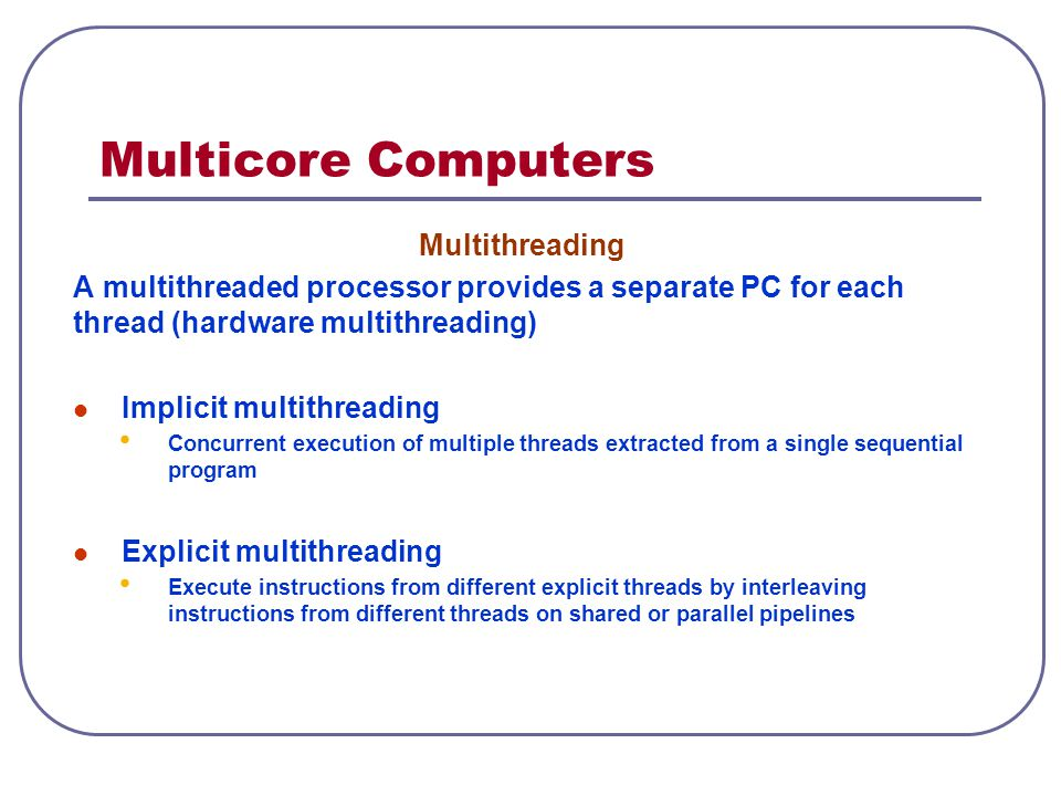Multicore Computers Multithreading