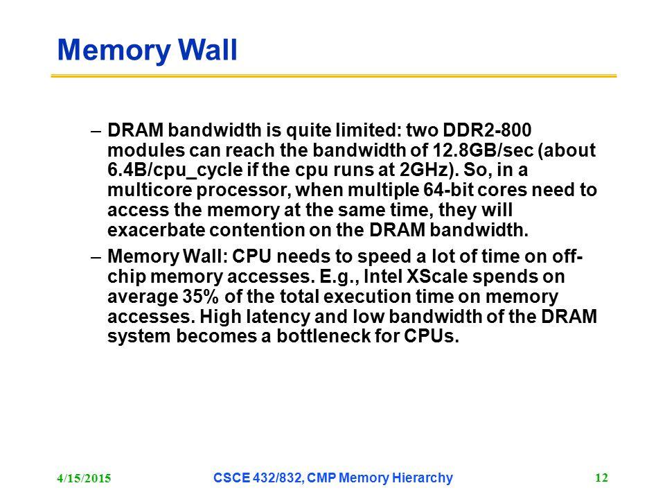 CSCE 432/832, CMP Memory Hierarchy