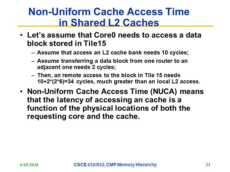 Non-Uniform Cache Access Time in Shared L2 Caches