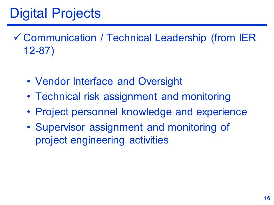 Digital Projects Communication / Technical Leadership (from IER 12-87)