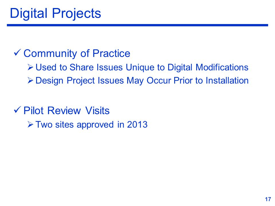 Digital Projects Community of Practice Pilot Review Visits