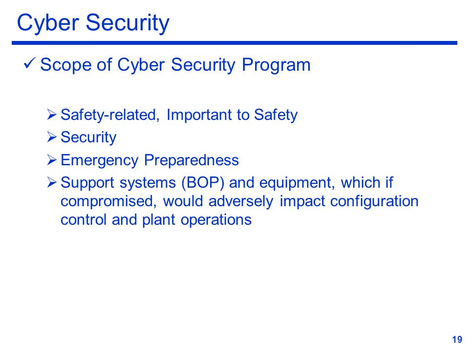 Cyber Security Scope of Cyber Security Program