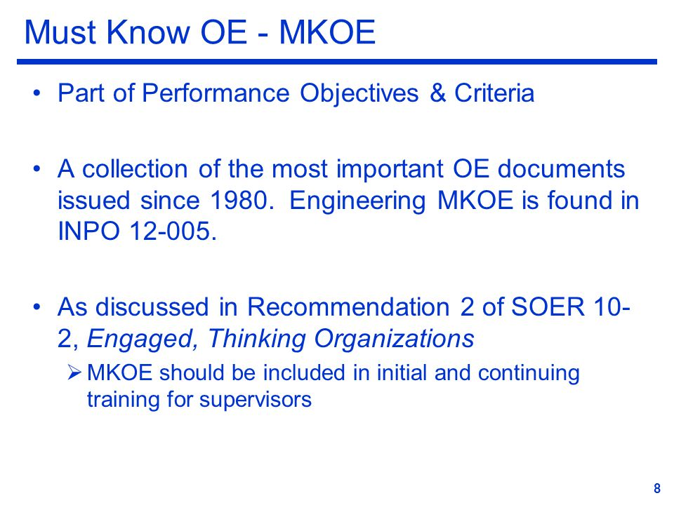 Must Know OE - MKOE Part of Performance Objectives & Criteria