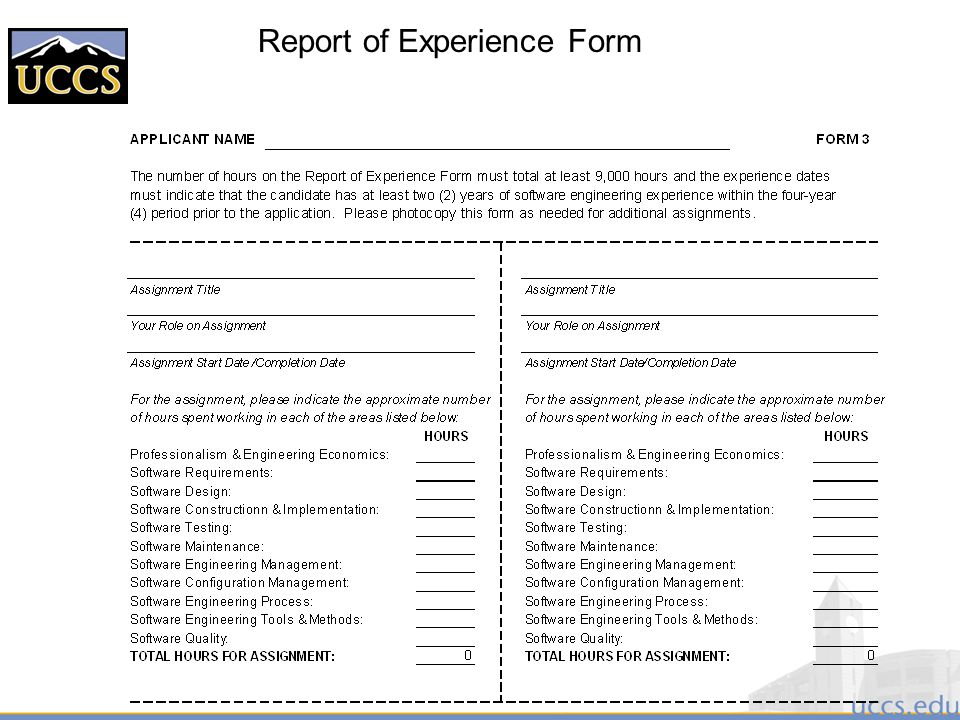 Report of Experience Form