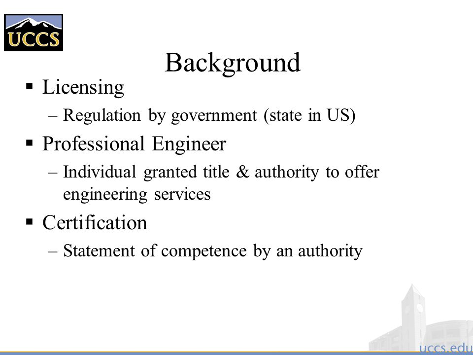 Background Licensing Professional Engineer Certification