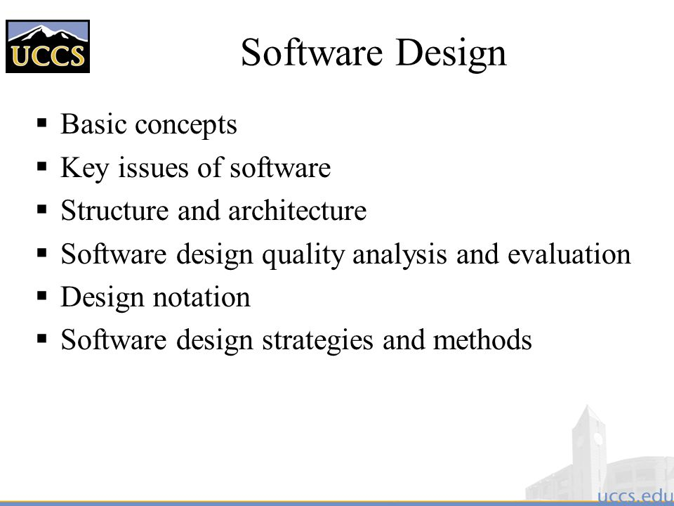 Software Design Basic concepts Key issues of software