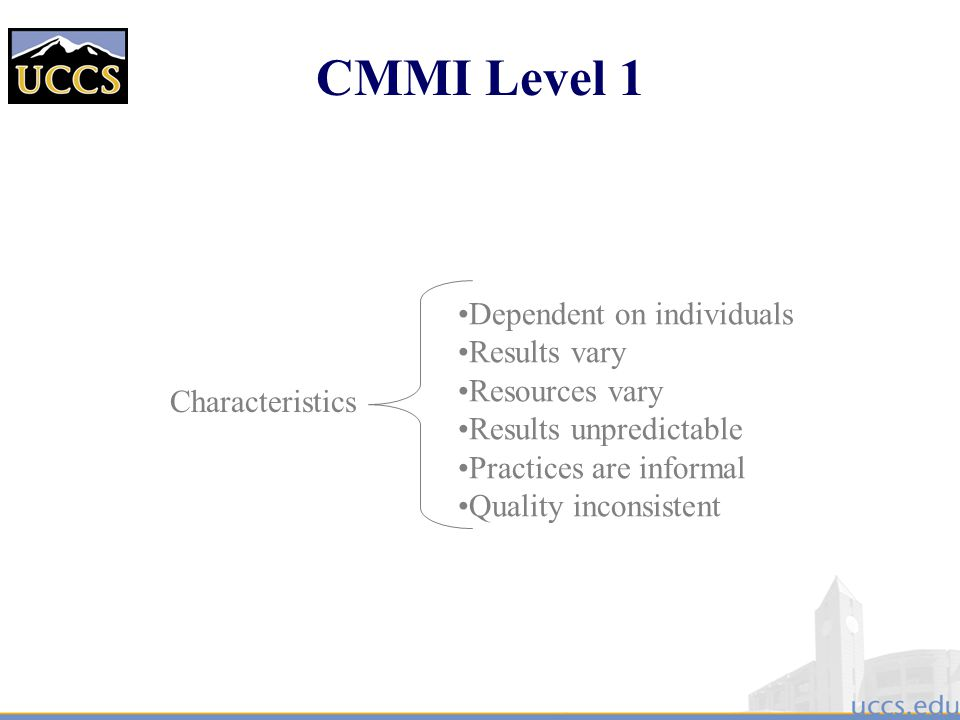 CMMI Level 1 Dependent on individuals Results vary Resources vary