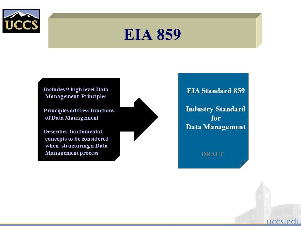 EIA 859 EIA Standard 859 Industry Standard for Data Management DRAFT