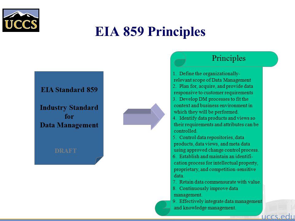 EIA 859 Principles Principles EIA Standard 859 Industry Standard for
