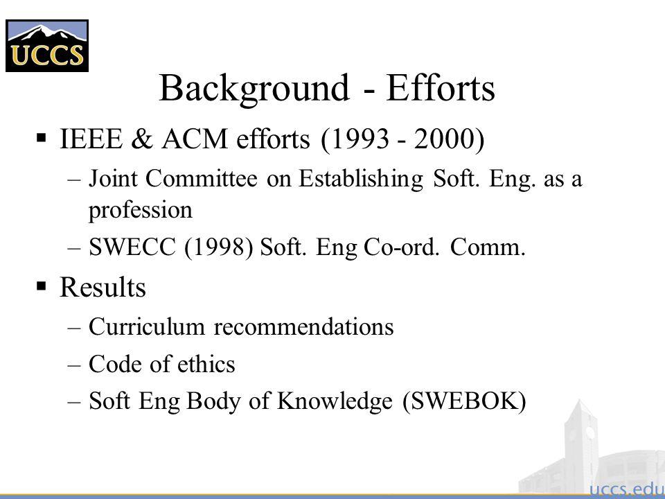 Background - Efforts IEEE & ACM efforts (1993 - 2000) Results