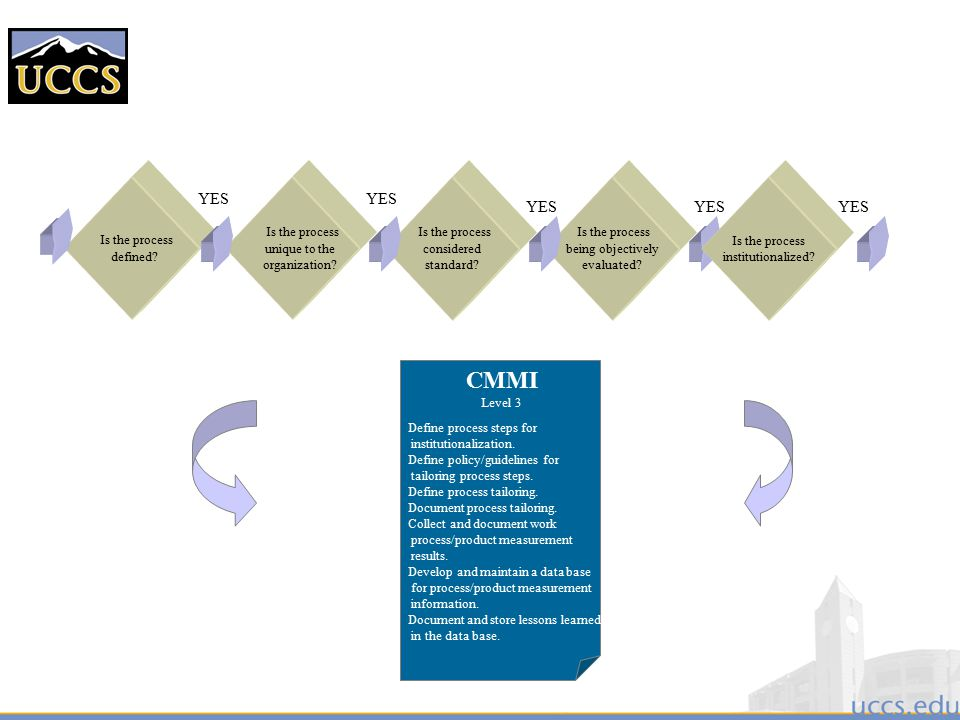 CMMI YES Is the process unique to the organization considered