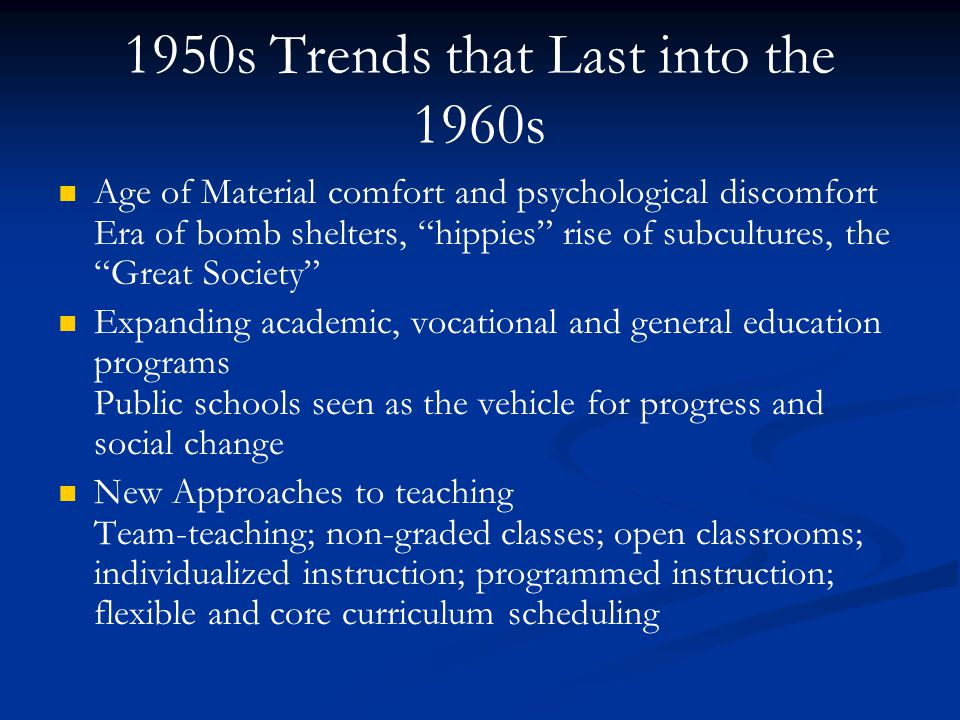 1950s Trends that Last into the 1960s