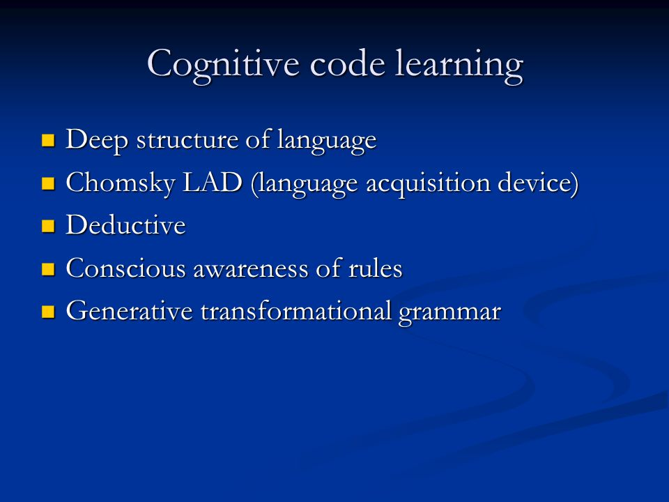 Cognitive code learning