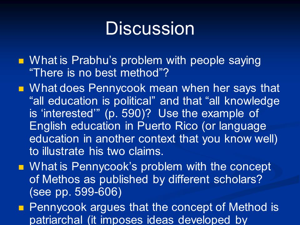 Discussion What is Prabhu's problem with people saying There is no best method