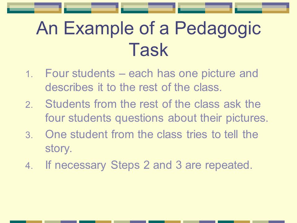 An Example of a Pedagogic Task