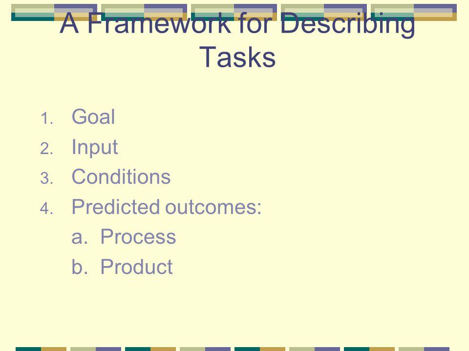 A Framework for Describing Tasks