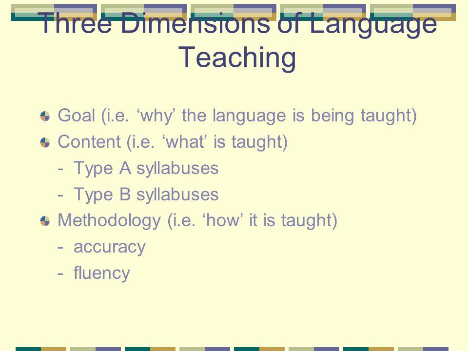 Three Dimensions of Language Teaching