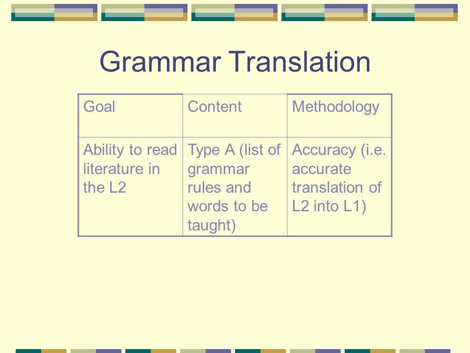 Grammar Translation Goal Content Methodology