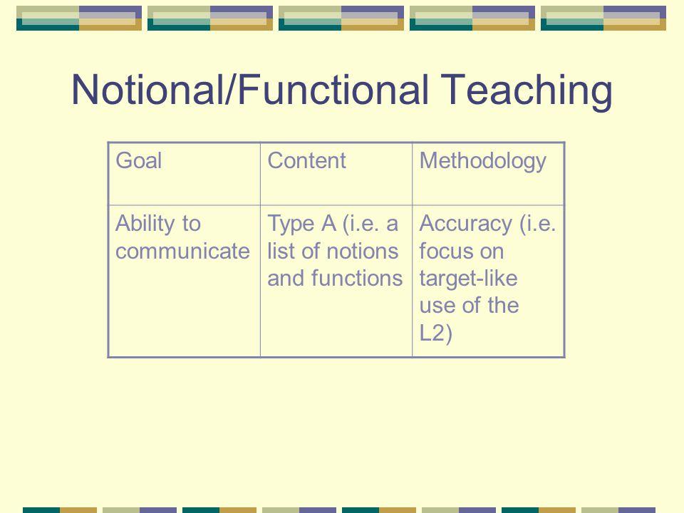 Notional/Functional Teaching