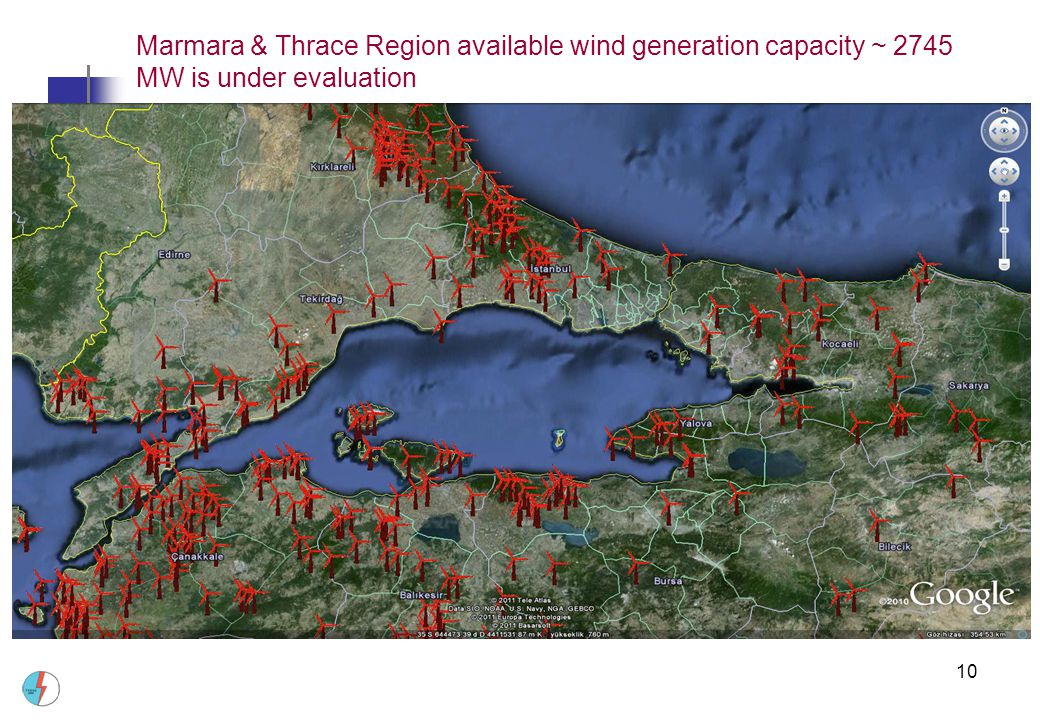 Marmara & Thrace Region available wind generation capacity ~ 2745 MW is under evaluation