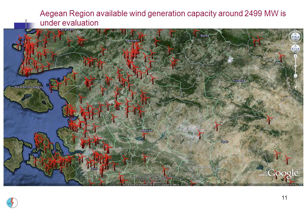 Aegean Region available wind generation capacity around 2499 MW is under evaluation