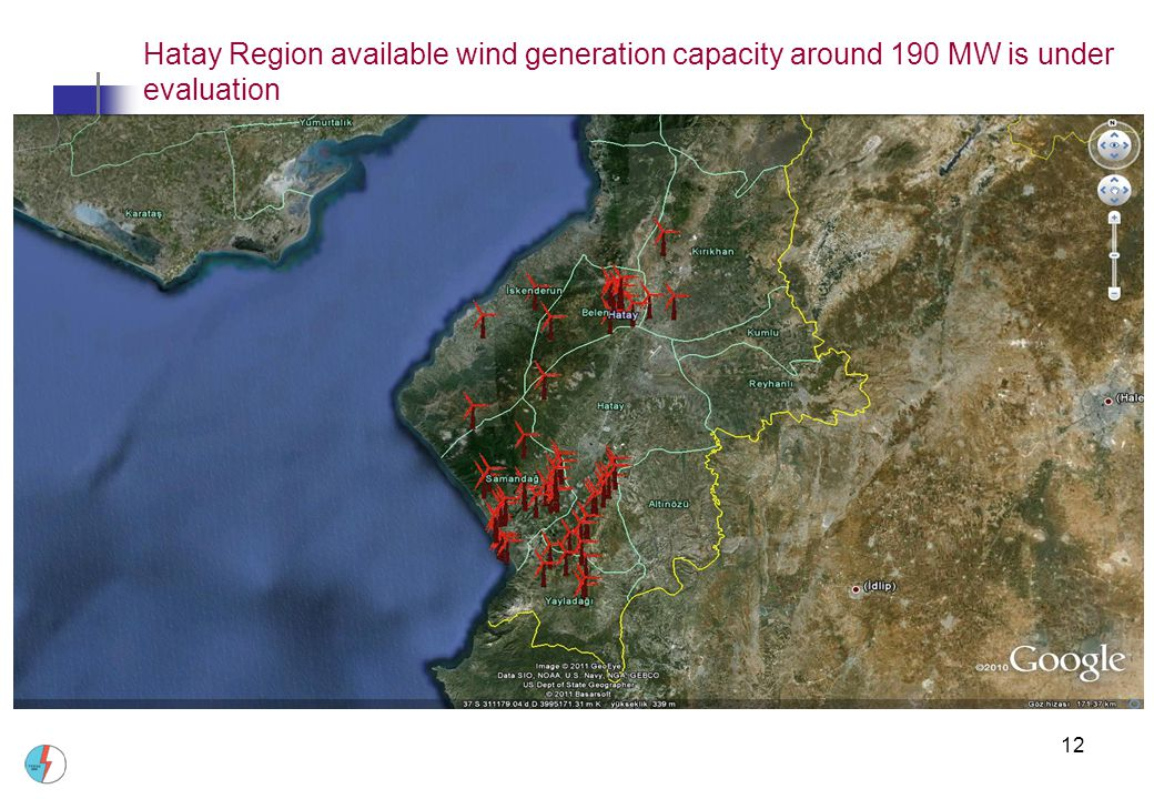 Hatay Region available wind generation capacity around 190 MW is under evaluation