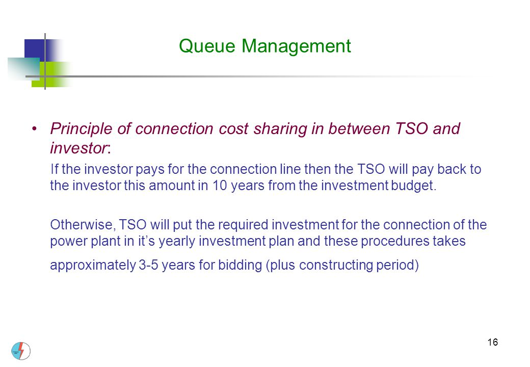 Queue Management Principle of connection cost sharing in between TSO and investor: