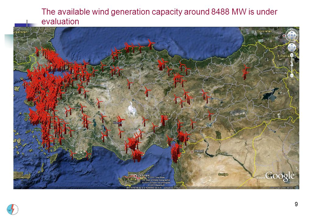 The available wind generation capacity around 8488 MW is under evaluation