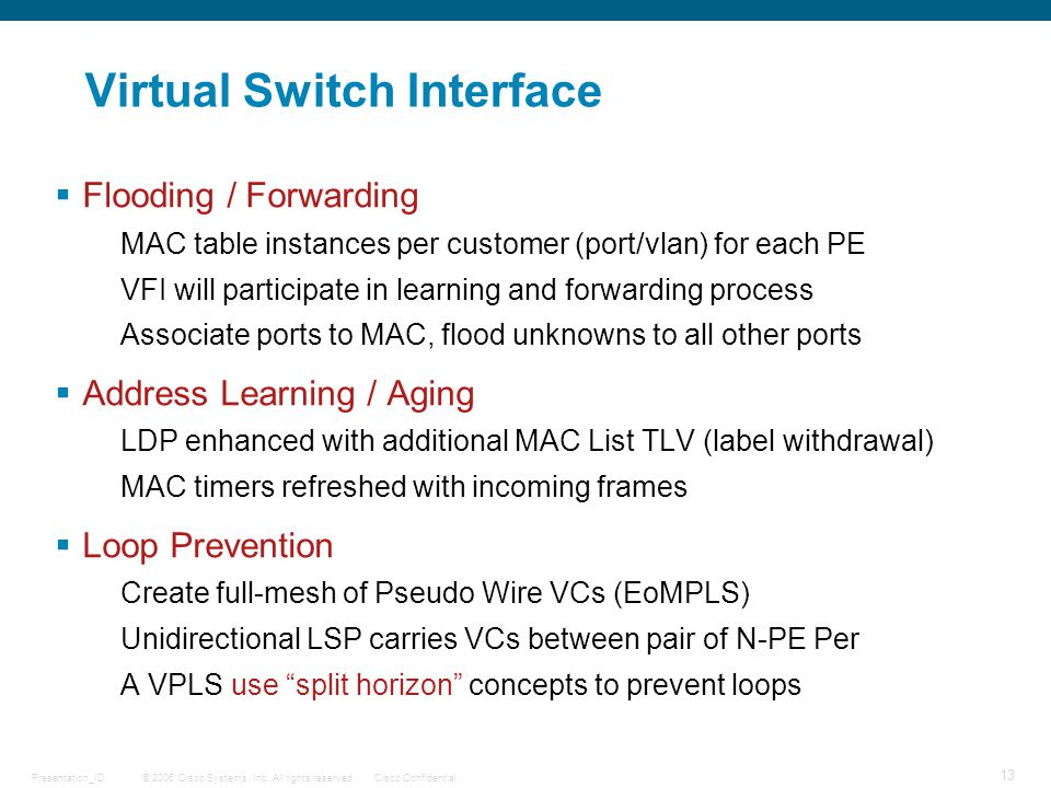 Virtual Switch Interface